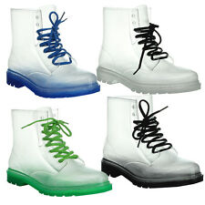 EASOS GEAL STU01 Women's Fashionable Lace-up Jelly Ankle High Martin Rain Boots