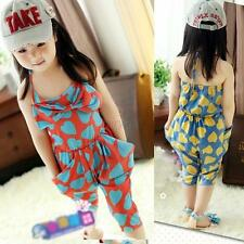 Toddlers Kids Girls Jumpsuit Strap Romper Heart Harem Pants Bowknot Trousers F27