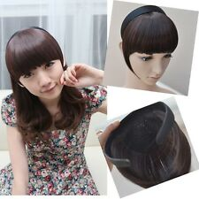 Womens Synthetic Headband Bangs Fringe Neat With Temples Wigs Hair Accessories