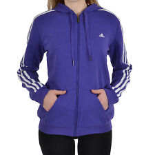 adidas Performance Womens Essentials 3 Stripe Hooded Zipped Track Top - Purple