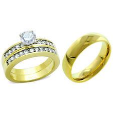 3 PCS HIS HERS Round Cut CZ Gold IP Stainless Steel Wedding RING SET/ Mens Band