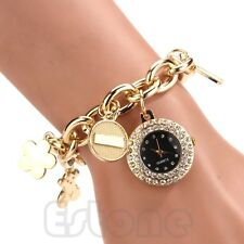 Trendy Women Stainless Steel Chain Rhinestone Bracelet Round Dial Wrist Watch