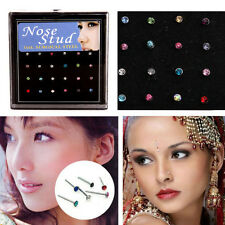 Hot 24pcs Clear Crystal Rhinestone Nose Bone Studs Ring Body Piercing Jewellery