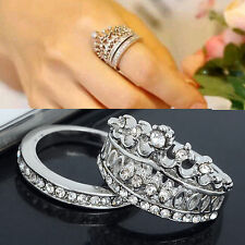 Womens White Rhinestone 925 Silver Plated Crown Wedding Band Ring Set Size 7 8