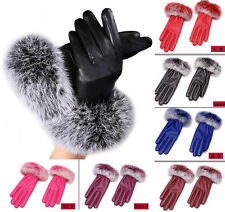 Women Lady Leather Gloves Winter Warm Faux Fur Mittens Hottest Finger Bicycling