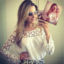 Sexy Womens Long Sleeve Embroidery Lace Tops Chiffon Tee Shirt Blouse Size 6-18