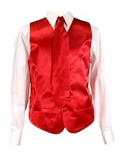 Men's Suit Satin Tuxedo Red Dress Vest Necktie Bowtie Hanky 4 Pc Set VS-801