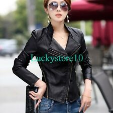 Fashion Womens Biker Motorcycle PU Leather Zipper Slim Jacket Short Coat Black