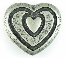 Clasp Belt Buckle Metal Silver-coloured Heart Heart for 4 cm buckles