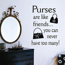 Vinyl Wall Lettering Quote Purses are Like Friends choice size and color