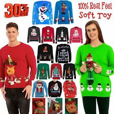 CLEARANCE SALE Mens Womens 3D Doll Teddy Bear Christmas Novelty Santa Jumper Top