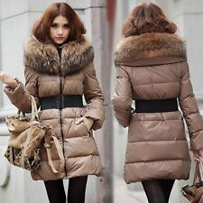 Women's Slim Elegant Thicken Winter Long Coats Real Fur Collar Down Jacket Parka