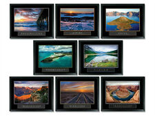 8 FRAMED OCEAN WATER SUNSET MOTIVATIONAL POSTERS COMPLETE OFFICE COLLECTION