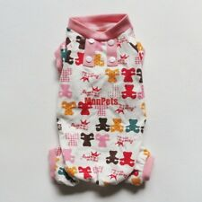 Pink BEAR Cute Pet Dog Pajamas Pants Overalls Jumpsuits Pet Apparel Dog Clothes