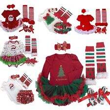 4PCS Infant Baby Newborn Little Girls Christmas Romper Dress Outfits Sets 0-12M