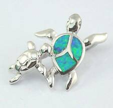 Hot Sale Jewelry For Women Pendant Fire Opal Silver Plated Turtle 1 1/8''