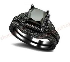 Jewelry double Ring sets sz5/6/7/8/9/10 black Sapphire lady Black Gold wedding