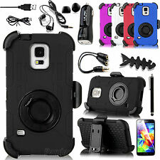 Heavy Duty Rugged Impact Case Stand Clip Holster + Bundle For SAMSUNG GALAXY S5