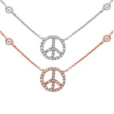 """.10ct Diamond Peace Sign on a Diamond Bezel Necklace 17"""" 14kt White or Rose Gold"""