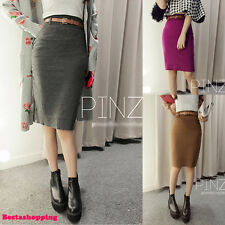 Korean High Waist Slim Belted Knited Wrap Pencil Bodycon Knee Length Skirt Dress