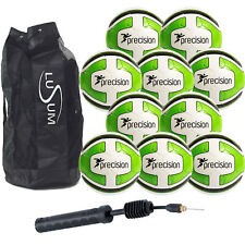 10 x WHITE LIME PRECISION SANTOS TRAINING FOOTBALL and 1 BALL BAG SIZE 3,4,5