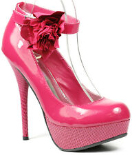 Pink Mary Jane Ankle Strap  w Bow Platform High Stiletto Heel Pump Bamboo