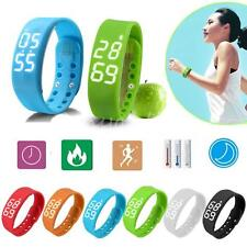 Waterproof 3D LED Calorie Pedometer USB Sports Smart Wrist Bracelet Watch Unisex