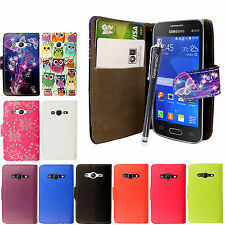 For Samsung Galaxy Ace 4 LTE/Ace NXT PU Leather Book Wallet Flip Case + Stylus
