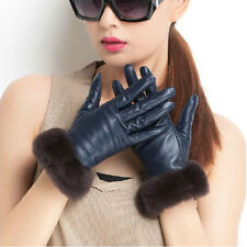 New Women Lady Genuine Sheepskin Leather Soft Winter Warm Gloves Rabbit Fur Side