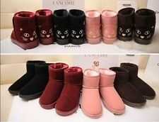 Lovely Cat Snow Boots Women Ankle Plush Warm Winter Boots Flat Casual Shoes Lady