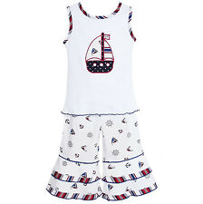 AnnLoren 4th of July Girls Nautical Tank & Capri Sailor Outfit 12/18 - 9/10