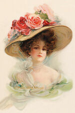 LADY WITH ROSES ON HER HAT Vintage Postcard Image Photo, Card Or Print IL065