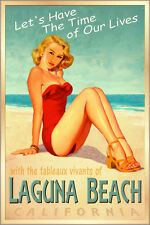 LAGUNA BEACH California -Surf Sand Sea Poster Miley Cyrus Pin Up Art Print 241