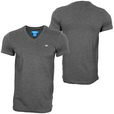 adidas Originals Rare Mens Ribbed V-Neck T-Shirt Cotton Tee Dark Grey rrp£30