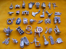 OO VINTAGE STERLING SILVER CHARM  BELL HORN RINGS SLIPPERES BOUY TRAIN ANVIL CAR
