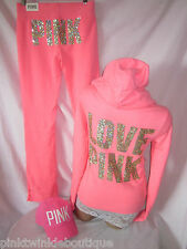 Victorias Secret CORAL Sequin BLING Track Suit Hoodie Sweatshirt Pants PiNK Long