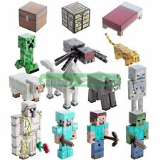 """Minecraft Overworld Action Figures Loose 3"""" Creeper Golem Steve With Accessories"""
