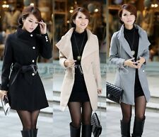 Womens Slim Big Lapel Trench Parka Single-Breasted Winter Long Coat Jacket GBW