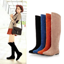 New Women's Faux Suede Round Head Pull On Flat Heel Riding Boots Knee High Boots