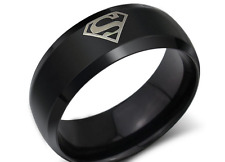 Jewelry Fashion Stainless Steel  Ring sz6 to 10 Titanium for black Superman gift