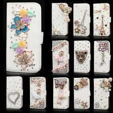 Hot Bling Rhinestone Flip Wallet PU Leather Stand Case Cover For iPhone Samsung