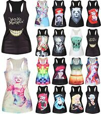 Women Print Sleeveless Vest Tank Tops Blouse Gothic Punk Club Wear Party T-Shirt
