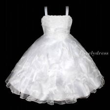 NW Flower Girl Princess Bridesmaid Wedding Pageant Party Dress White SZ 4-9 Q239