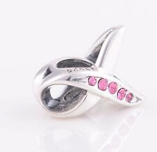Sterling Silver 925 European Charm Brest Cancer Awareness Pink Ribbon Bead 88456