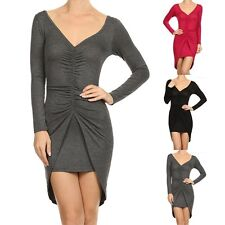 Ruched Front Long Sleeve V-Neck Dress Scoop Back Mini Skirt Rayon Span S M L
