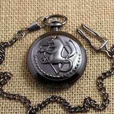 Fullmetal Alchemist Silver/Black/Bronze  Quartz Pocket Watch Necklace Mens Gift