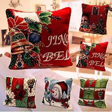 Tapestry Christmas Back Cushion Cover Santa Throw Pillow Case Home Decor 43*43cm