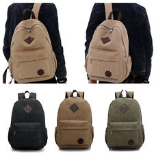 Men Vintage Canvas backpack Rucksack laptop shoulder travel Hiking Camping bag