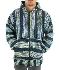 Baja Joe Men's Zip Hoodie Poncho Lime  Mexican Surfer Pancho Hoody