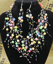 Fashion Vintage Multilayer Net Faux Pearl Necklace Earrings Jewelry Unique Charm